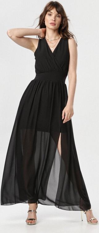 Czarna sukienka born2be z dekoltem w kształcie litery v maxi bez rękawów