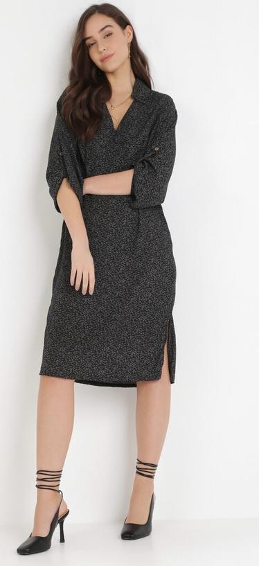 Czarna sukienka born2be z dekoltem w kształcie litery v z długim rękawem midi