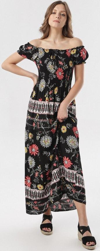 Czarna sukienka born2be z krótkim rękawem maxi