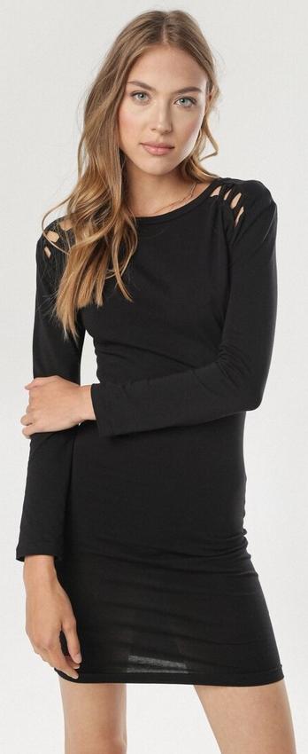 Czarna sukienka born2be z okrągłym dekoltem dopasowana z długim rękawem