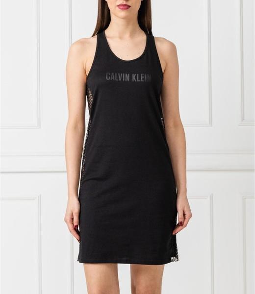 Czarna sukienka Calvin Klein mini na ramiączkach z okrągłym dekoltem