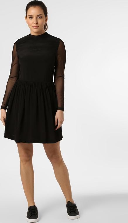 Czarna sukienka Calvin Klein mini rozkloszowana z długim rękawem