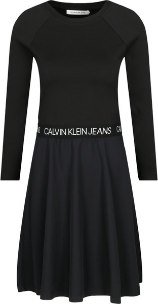 Czarna sukienka Calvin Klein z okrągłym dekoltem w stylu casual