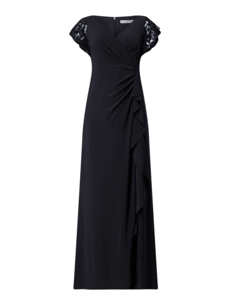 Czarna sukienka Christian Berg Cocktail z dekoltem w kształcie litery v kopertowa z krótkim rękawem