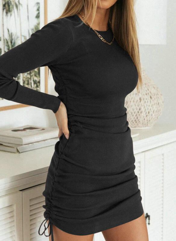 Czarna sukienka Cikelly mini w stylu casual dopasowana