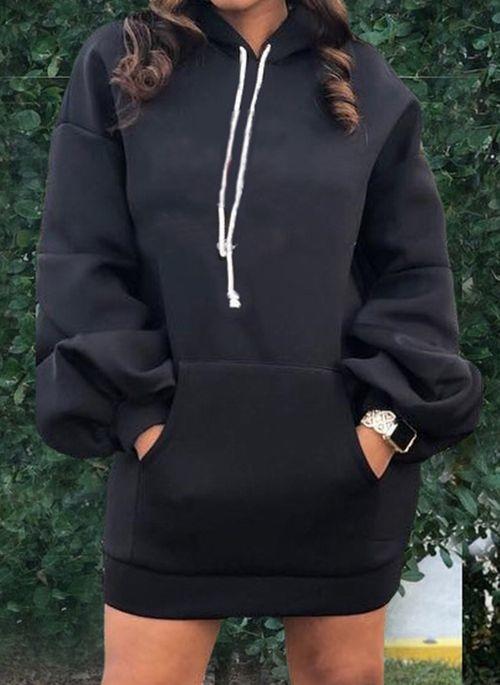 Czarna sukienka Cikelly z długim rękawem z dekoltem w kształcie litery v mini