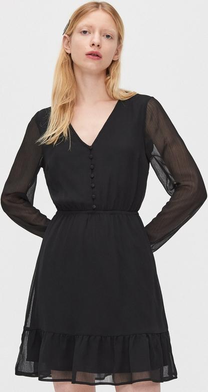Czarna sukienka Cropp z szyfonu z długim rękawem w stylu casual