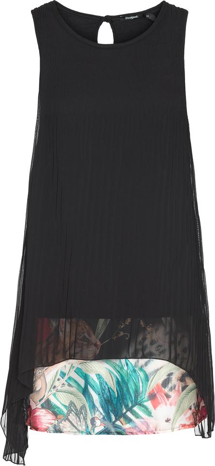 1002631d36 Czarna sukienka Desigual na spacer z okrągłym dekoltem bez rękawów
