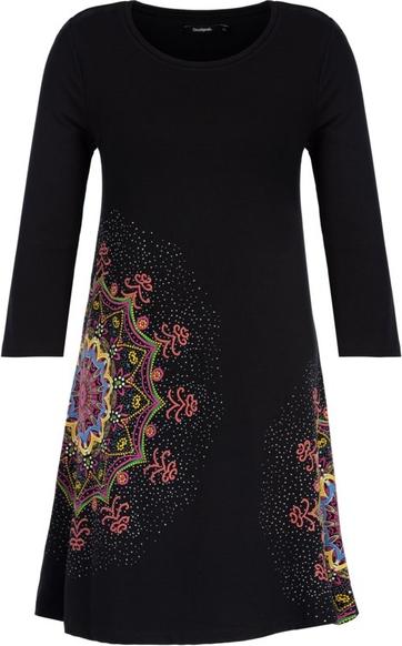 Czarna sukienka Desigual z nadrukiem w stylu casual mini