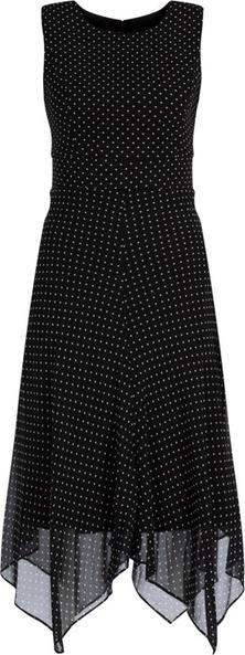 Czarna sukienka DKNY z okrągłym dekoltem asymetryczna bez rękawów