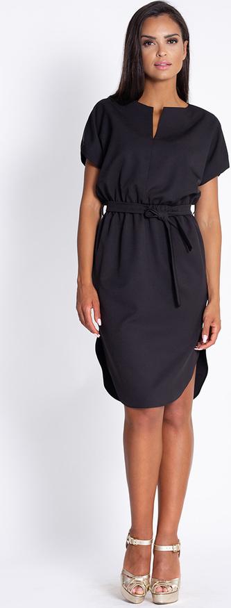 Czarna sukienka Dursi z krótkim rękawem