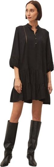 Czarna sukienka ECHO z długim rękawem mini z tkaniny