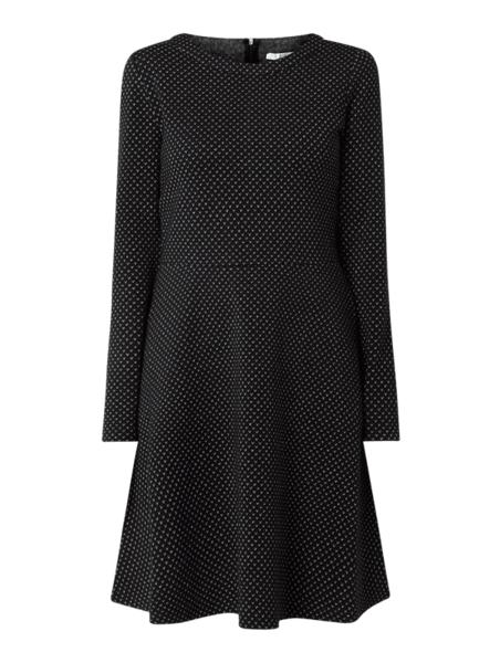 Czarna sukienka edc by Esprit z okrągłym dekoltem mini z długim rękawem