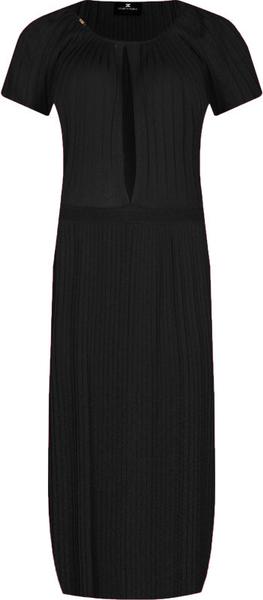 Czarna sukienka Elisabetta Franchi prosta maxi z krótkim rękawem