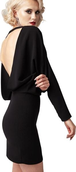 Czarna sukienka fADD mini z dekoltem w łódkę z tkaniny
