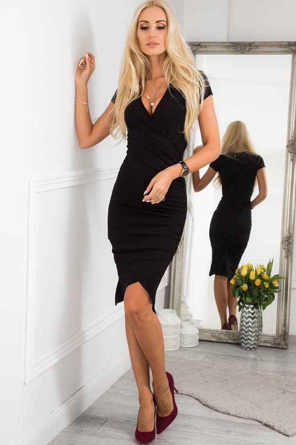 Czarna sukienka Fasardi z krótkim rękawem w stylu klasycznym z dekoltem w kształcie litery v
