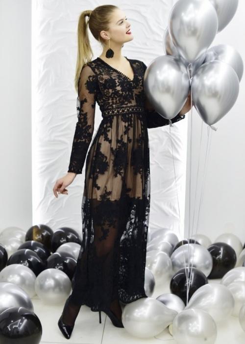 Czarna sukienka Fason z długim rękawem