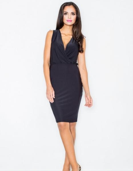 Czarna sukienka Figl dopasowana z dekoltem w kształcie litery v