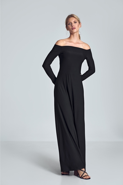 Czarna sukienka Figl maxi z długim rękawem