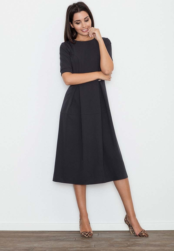 Czarna sukienka Figl midi z okrągłym dekoltem
