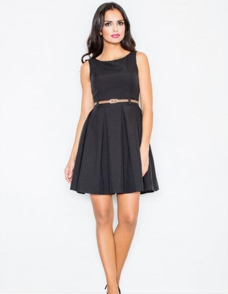 Czarna sukienka Figl mini bez rękawów z okrągłym dekoltem