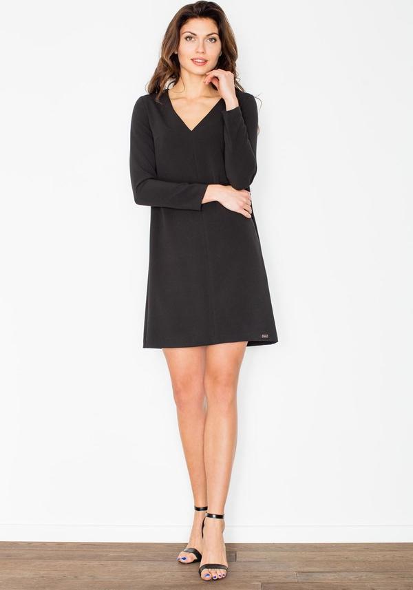 Czarna sukienka Figl mini z dekoltem w kształcie litery v