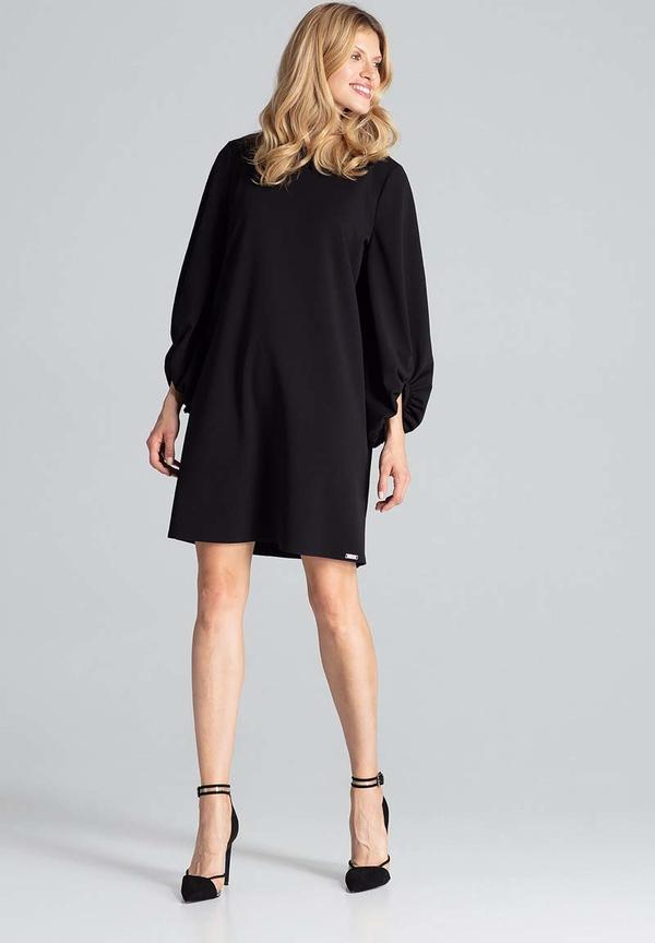 Czarna sukienka Figl mini z okrągłym dekoltem oversize