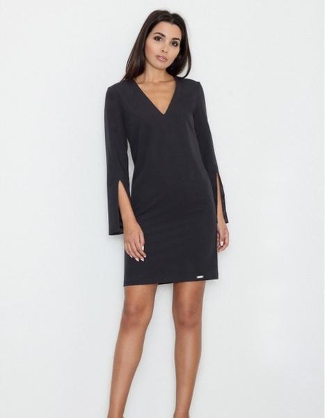 Czarna sukienka Figl z dekoltem w kształcie litery v z długim rękawem