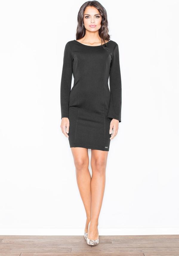 Czarna sukienka Figl z długim rękawem