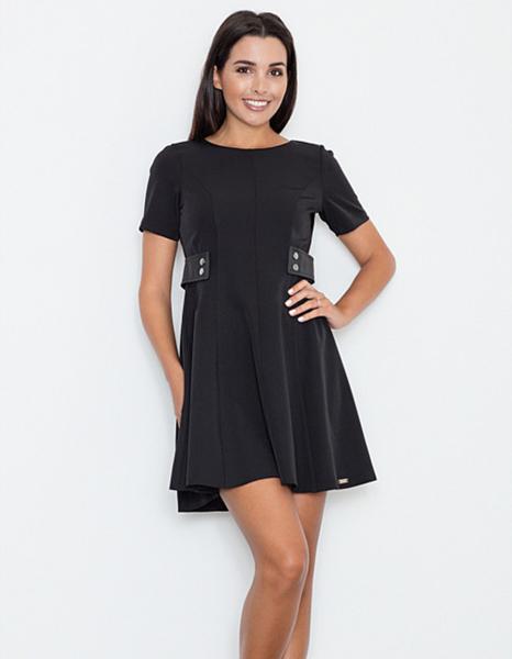 Czarna sukienka Figl z krótkim rękawem