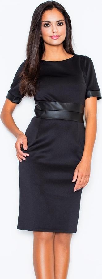 Czarna sukienka Figl z krótkim rękawem w stylu casual z okrągłym dekoltem