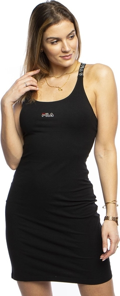 Czarna sukienka Fila na ramiączkach mini z okrągłym dekoltem