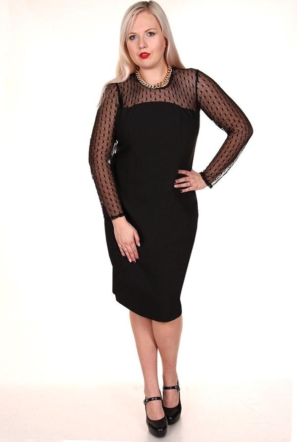 Czarna sukienka Fokus midi z okrągłym dekoltem dopasowana