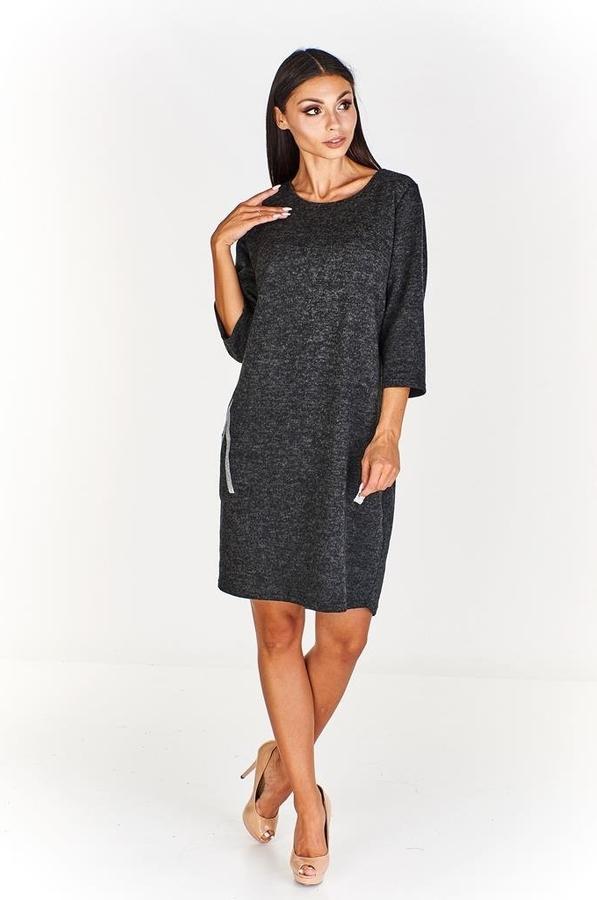 Czarna sukienka Fokus z długim rękawem midi