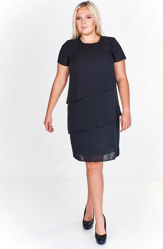 Czarna sukienka Fokus z okrągłym dekoltem z krótkim rękawem w stylu klasycznym