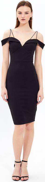 Czarna sukienka Gate na ramiączkach midi