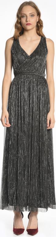 Czarna sukienka Gate z dekoltem w kształcie litery v maxi na ramiączkach