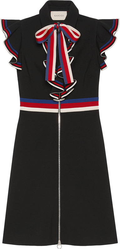 fe918e8fddd74 Czarna sukienka Gucci z krótkim rękawem