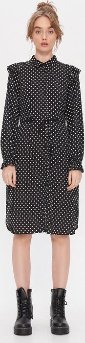 Czarna sukienka House w stylu casual z długim rękawem prosta