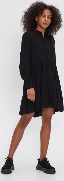 Czarna sukienka House z dekoltem w kształcie litery v w stylu casual z długim rękawem
