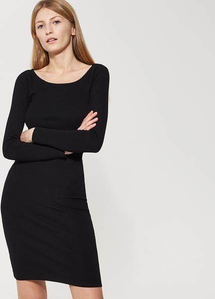 a7665eb540 Czarna sukienka house midi na co dzień z długim rękawem