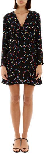 Czarna sukienka HVN z długim rękawem mini z dekoltem w kształcie litery v