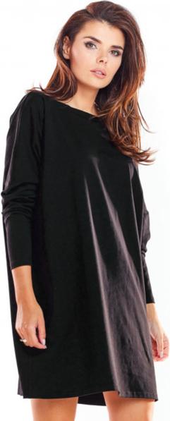 Czarna sukienka Infinite You mini z bawełny z długim rękawem