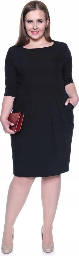 Czarna sukienka Inna z okrągłym dekoltem z długim rękawem
