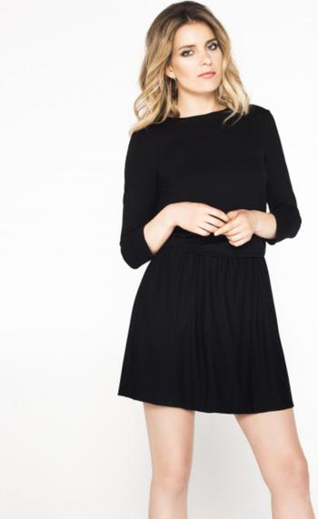 Czarna sukienka Ivon z długim rękawem mini