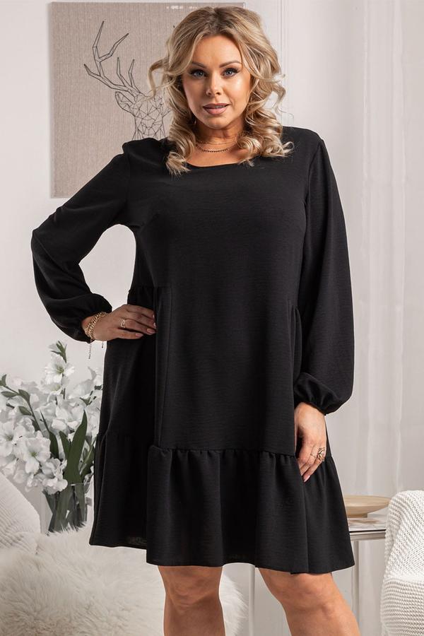 Czarna sukienka KARKO mini z długim rękawem z dzianiny