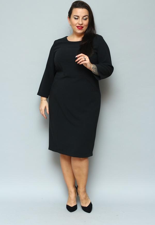 Czarna sukienka KARKO z okrągłym dekoltem z długim rękawem