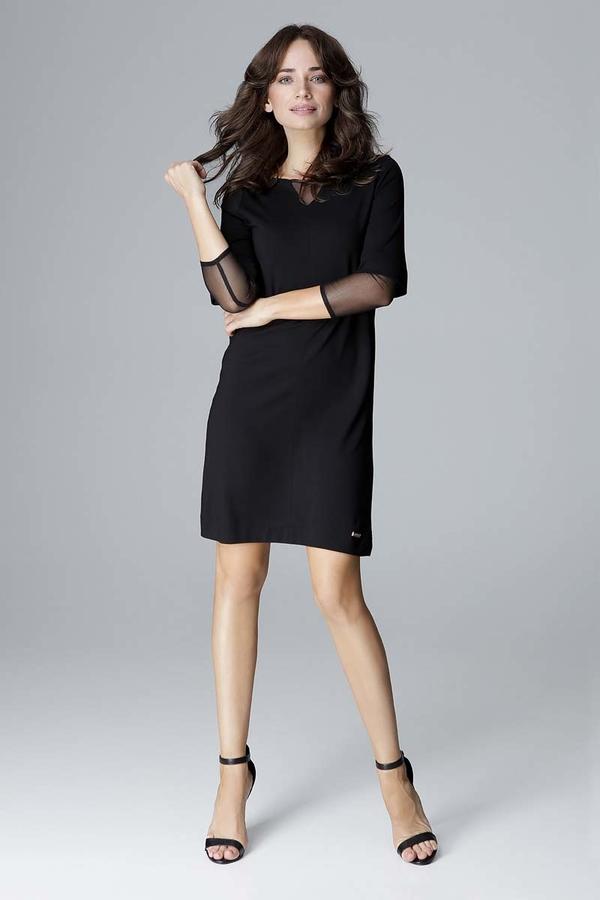 Czarna sukienka Katrus z długim rękawem z tiulu