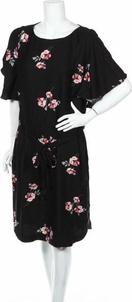 Czarna sukienka Khoko midi w stylu casual z okrągłym dekoltem
