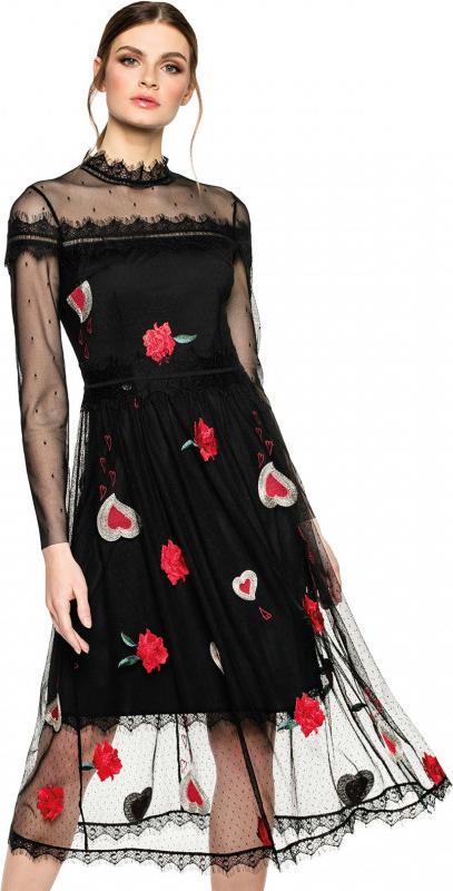 Czarna sukienka L'AF z długim rękawem z szyfonu